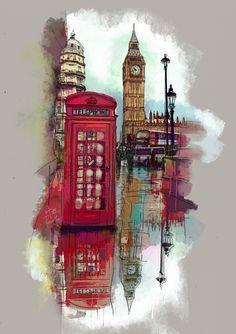 London, England - watercolor