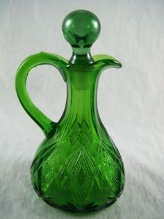 Antique Green Diamond Pattern Cruet with Stopper