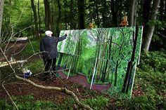 David Hockney painting outdoors.