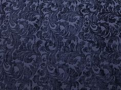 "Chenille fabric Upholstery Indigo floral Shelby Drapery home the yard 56"" Wide"