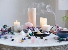 candles and crystals