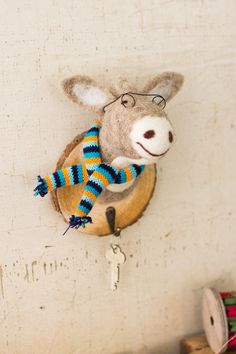 Kalalou Felt Donkey Hooks On Wooden Wall Plaques - Set Of 3