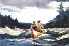 Canoe in the rapids, 1897 by Winslow Homer. Realism. genre painting