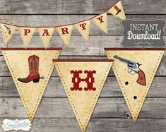 TNT Gift Box Wild West Cowboy INSTANT DOWNLOAD by SassabyParties