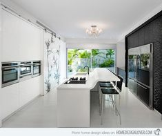 sleek kitchen, with decorative sliding wall - by Elad Gonen & Zeev Beech Kitchen Room Design, Eat In Kitchen, Modern Kitchen Design, Kitchen Decor, Kitchen Designs, Kitchen Ideas, Kitchen Contemporary, Kitchen Photos, Laminate Flooring In Kitchen
