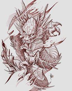 49 Ideas for tattoo dragon tiger lion Japan Tattoo Design, Sketch Tattoo Design, Tattoo Sketches, Tattoo Drawings, Body Art Tattoos, Dragon Tattoo Sketch, Dragon Sleeve Tattoos, Dragon Tattoo Designs, Japanese Dragon Tattoos