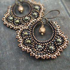 Bronze Mosaic Earrings Green Gold Hoop Earrings by windyriver