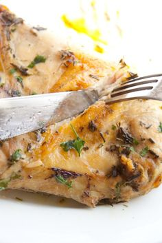 Butter Roasted Chicken with Rosemary and Sage--I think I'll make this when my Mom comes to town.