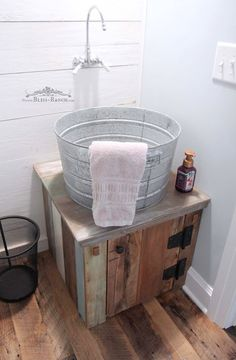 q making a galvanized tub into a sink bathroom ideas diy. Black Bedroom Furniture Sets. Home Design Ideas