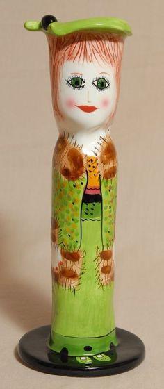 "Melinda by Ganz Green Hat Lady Flower Vase Candle Stick Susan Paley EUC 10"""