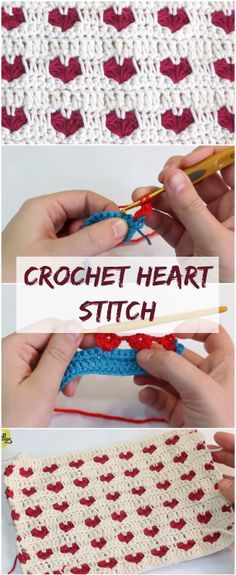Learn how to crochet heart stitch by following this step by step tutorial + free video guide for beginners. Crochet simple creative baby blanket, hat, pillow, scarf and other DIY valentines day gift projects and ideas for him, kids, friends, her and just fun! Get inspiration for your projects! | Free Crochet Tutorials For Beginners | Free Crochet Videos | Blankets For Beginners | Patterns | Crochet Stitches | #crochetlove #crocheting #crocheted #crochetblanket #crochetpattern #crochet