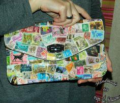 Τσαντάκι φάκελλος ντυμένο με μοναδικά χρησιμοποιημένα  γραμματόσημα 4348964546c