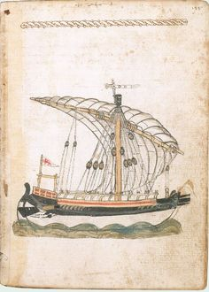 In 1401 Michael of Rhodes joined the Venetian navy as galley oarsman. Over the next 4 decades, he sailed on more than 40 voyages & took part in 5 major sea battles. In 1434, he began an ambitious manuscript containing 440 pages on mathematics, astronomy, astrology & navigation, as well as one of the world's earliest surviving treatises on shipbuilding, & a record of his annual voyages. The manuscript was written in the Venetian dialect of Italian.