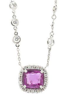 Pendant Center Cushion Shape Pink Sapphire 3.69ct (34) Round Brilliant Diamonds…