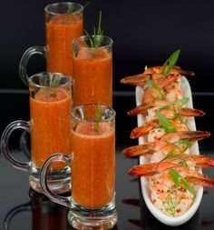 Tropical Gazpacho   This interesting twist on Gazpacho came was inspired by a recipe they sometimes serve in the Whole Foods deli and it is wonderful on a warm day.  Try them with grilled prawns or baby lobster tails