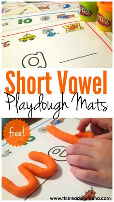 FREE Short Vowel Playdough Mats {CVC Words} with Student Recording Sheets | This Reading Mama