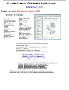 mitsubishi lancer 2008 service repair manual by
