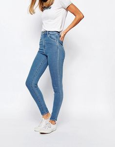 Rollas | Rollas Eastcoast High Waist Ankle Grazer Jeans at ASOS