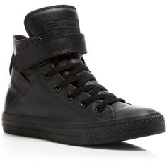 Converse Mono Leather All Star Brea High Top Sneakers ($75) ❤ liked on Polyvore featuring shoes, sneakers, black, converse sneakers, leather shoes, black leather high tops, leather high tops and velcro sneakers