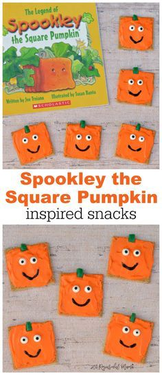 Spookley the Square Pumpkin Inspired Pumpkin Snacks is part of Fall crafts Prek - These super simple and yummy pumpkin snacks are inspired by The Legend of Spookley the Square Pumpkin They make a great Halloween and fall themed snack Halloween Pumpkins, Halloween Fun, Halloween Sewing, Halloween Celebration, Halloween Snacks, Halloween Halloween, Helloween Party, Ec 3, Preschool Snacks