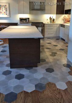 Mixed Gray Hex cement tile New York kitchen, from Villa Lagoon Tile.