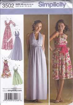 New Sewing Pattern Simplicity 3502 Day Evening Wear Halter Empire Cocktail Prom Size 6 8 10 12 14 Bust 30.5 31.5 32.5 34 36 Uncut h5 by LanetzLiving on Etsy Bridesmaid Dresses, Prom Dresses, Summer Dresses, Formal Dresses, Wedding Dresses, Halter Dress Formal, Evening Gown Pattern, Wedding Dress Sewing Patterns, Shirtwaist Dress