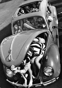 How many people can fit inside a Volkswagen Beetle?