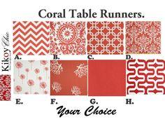 Coral Table Runner  Coral Table Runner Coral and by KikoyChic, $18.00