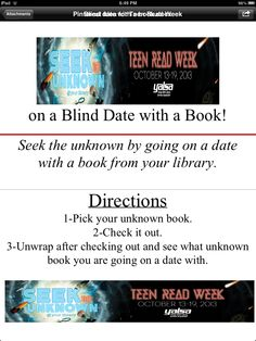 Teen read week 2013 - Seek the Unknown - blind date with a book - would teens enjoy this?