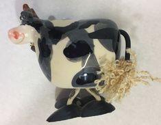 "Cow Animal Antics Ceramic Art Bobble Body 4.5"" Figurine with Cowbell #4829-5  #AnimalAntics #BobbleBody"