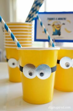 DIY Minions Party Ideas - Easy Drinking Cups