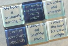 Weight Loss Affirmations Handmade Glass Magnets - Set of 6 in Tin. $14.00, via Etsy.