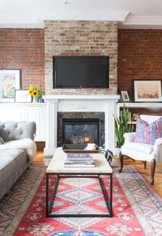 The couple chose the area rug together, which features an abundance of colors and is the statement piece in the space.