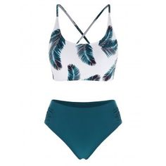 [-4% OFF] 2021 Leaf Print Lace Up Ruched Mix And Match Tankini Swimwear In DEEP GREEN | DressLily Neck Pattern, Swimsuits, Bikinis, Bra Styles, Swimwear Fashion, Mix N Match, Leaf Prints, Role Models, Printing On Fabric
