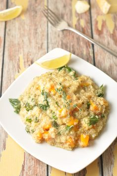 Quinoa Pumpkin Risotto - a healthier alternative to a family favourite! #quinoa #risotto #vegetarian