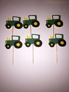 Tractor cupcake toppers, boy birthday party, gender reveal, farm party