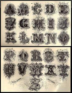 Tattoo Alphabet, Caligraphy Alphabet, Typography Alphabet, Graffiti Alphabet, Vintage Typography, Chicano Lettering, Graffiti Lettering, Lettering Design, Calligraphy Tattoo Fonts