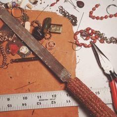 Making of: 1920's cigarette tag with vintage cooper beads. #rustbeltamericana #vintage #junkyard #jewelry #blindboyfuller