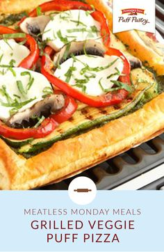 Jun 2018 - Here's a casual, meatless entrée that's sure to satisfy…it features a puff pastry pizza crust topped with grilled vegetables, pesto sauce and mozzarella cheese. Puff Pastry Pizza, Puff Pastry Sheets, Puff Pastry Recipes, Vegetarian Appetizers, Appetizer Recipes, Pepperidge Farm Puff Pastry, Pesto Sauce, Grilled Vegetables, Meatless Monday