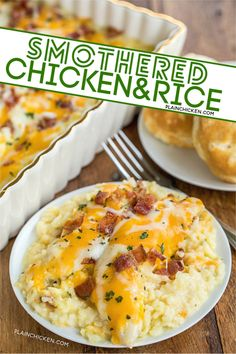 Smothered Chicken and Rice - Chicken and rice baked in cream of chicken soup, milk, cheddar, mozzarella and bacon. Ready in 30 minutes. Rice Recipes, Turkey Recipes, Casserole Recipes, New Recipes, Crockpot Recipes, Cooking Recipes, Favorite Recipes, Recipies, Soup Recipes