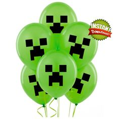 Minecraft Balloon Sticker Images - Minecraft Party Decorations - Digital Download