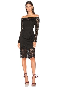 Bobi BLACK Lace Crochet Overlay Long Sleeve Off The Shoulder Dress in Black | REVOLVE