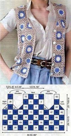 Crochet Waistcoat, Gilet Crochet, Crochet Vest Pattern, Crochet Coat, Granny Square Crochet Pattern, Crochet Jacket, Crochet Squares, Crochet Cardigan, Crochet Granny