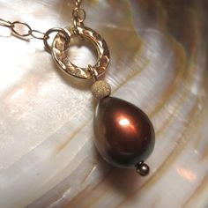 Chocolate Brown Freshwater Pearl Drop Pendant with Hammered Disk   by kauainanidesigns, $40.00