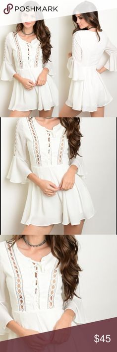 "Lace Up Romper Sweet white lace up romper with poet sleeves. Size small, fits size 2 to small size 4. Description: L: 30"" B: 34"" W: 26"" I.S.: 2"", Fabric Content: 100% POLYESTER, NWOT,  Purchased but never worn. Beach party or dance the night away, either way you will be receiving compliments all night long! Pants Jumpsuits & Rompers"