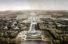 Vue à vol d'oiseau des jardins de Versailles, XIXe siècle