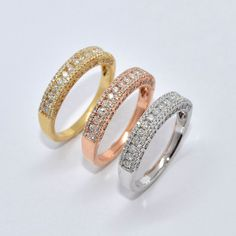 Love these Tri-Color Gold Diamond Bands. They would be great stacked!