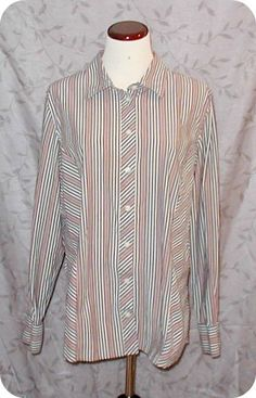 WOMENS Top Size XL OLD NAVY Black Pink White Yellow Striped Long Sleeve Cotton #OldNavy #ButtonDownShirt #CasualCareer