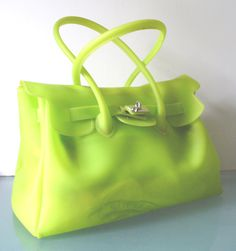 Made in Italy Large  Chartreuse Jelly Tote Bag by EurotrashItaly on Etsy