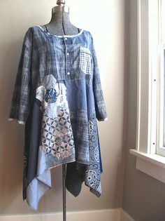 Plus Size Clothing, Upcycled Clothing Plus Size Indigo Tunic, Lagenlook Clothing, Artwear Japanese Inspired, Refashion Loose Fit Dress Diy Clothes Refashion, Shirt Refashion, Altered Couture, Plus Size Kleidung, Altering Clothes, Recycled Fashion, Sewing Clothes, Redo Clothes, Plus Size Outfits